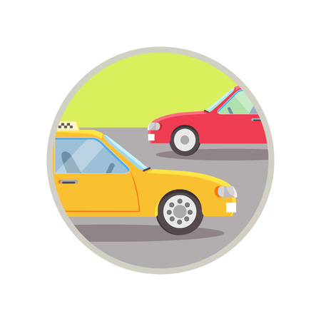 City Transport Taxi Icon Vector Illustration
