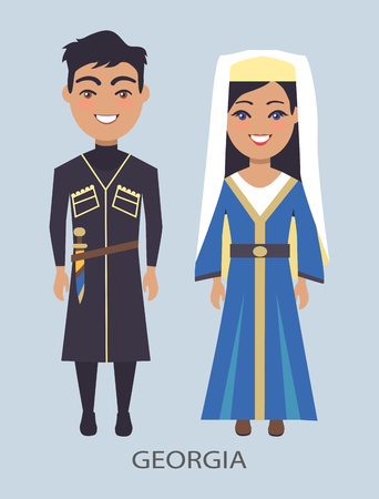 Georgia Costumes, on Vector Illustration Blue