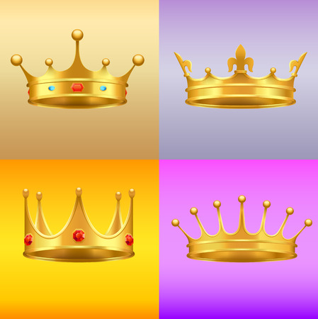 Golden Crown with Gems 3d Icon Realistic Vectors