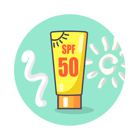 Circle Icon Depicting SPF Sunscreen Lotion