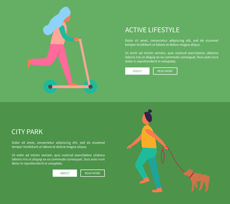 Active Lifestyle and City Park Vector Illustration