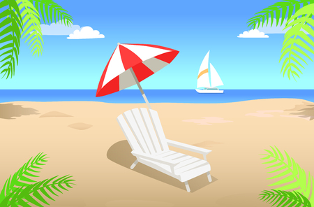 Sunbed with Umbrella on Sandy Beach in Summertime