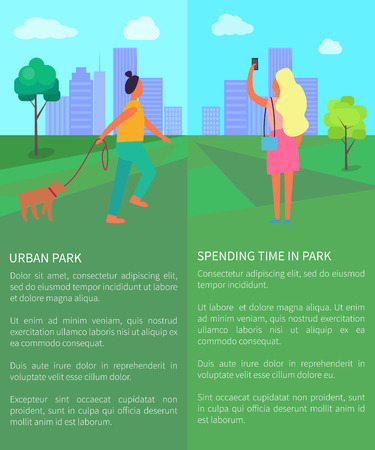 Spending Time in Urban Park Vector Illustration