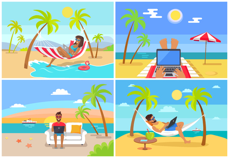 Freelance Workers at Beach near Sea with Laptops