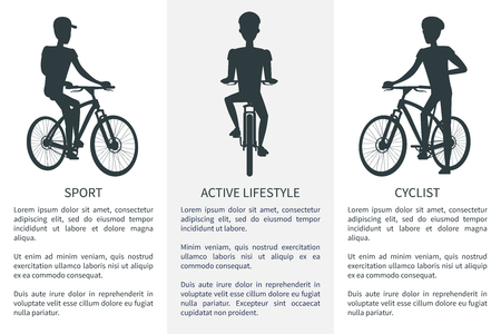 Sport Active Lifestyle and Cyclist Bright Banner  イラスト・ベクター素材