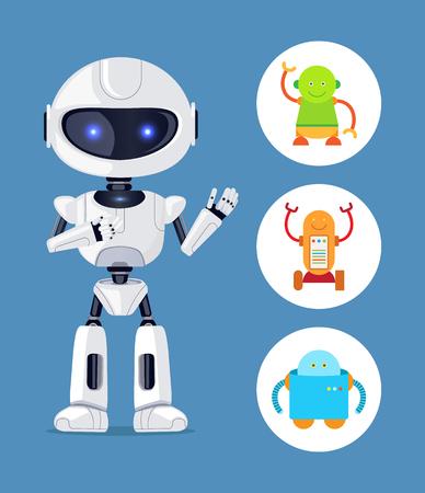 Futuristic Humanoid and Small Mechanic Robots Set