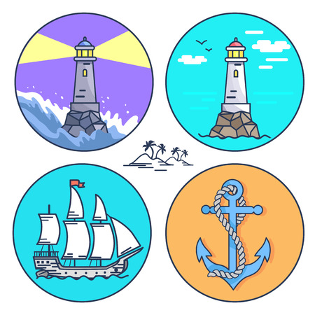 Poster Depicting Set of Icons and Small Island