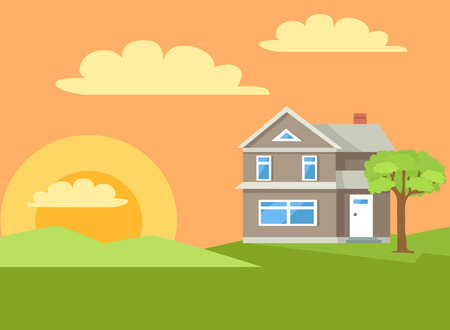 Three Storey House in Rural Countryside Vector Ilustracja