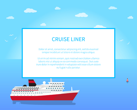 Big Red and White Cruise Liner, Colorful Banner 版權商用圖片 - 103228576