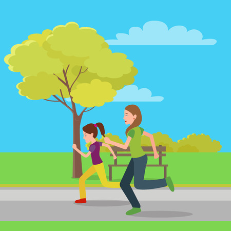Running Mom and Doughter Color Vector Illustration Illustration