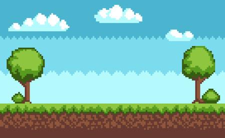 Tree Bush Pixel Style Vector Illustration Landscape