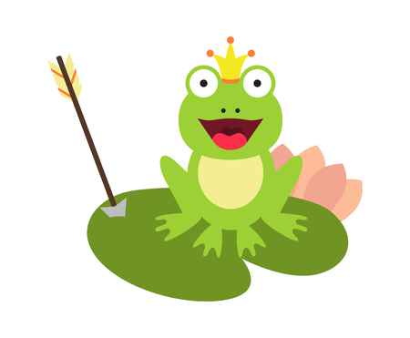 Frog and Crown with Arrow Vector Illustration