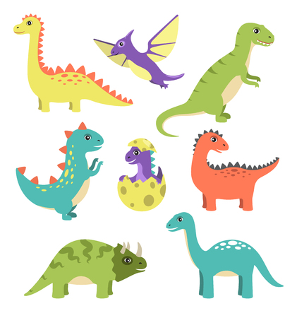 Creatures Types of Dinosaurs Vector Illustration Illustration