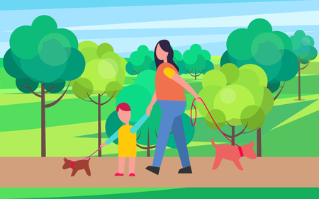 Mother and Son Walking Little Dogs Illustration