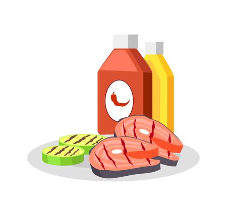 Barbecued Food Set Closeup Vector Illustration