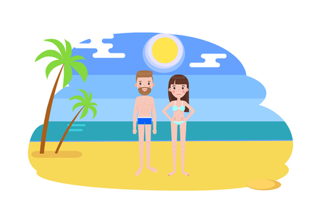 Man and Woman in Swimsuits on the Beach with Palms