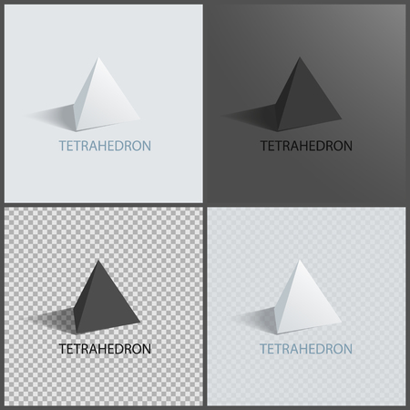Tetrahedrons Figures, Vector Prisms Collection Illustration