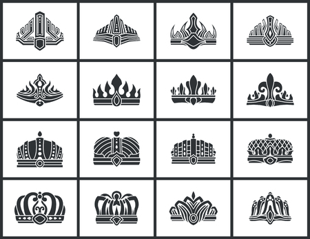 Crowns Collection of Shapes Vector Illustration