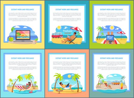 Distant Work and Freelance Set Web Posters People Illustration