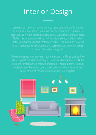 Interior Design, Stylish Living Room Planning Illustration