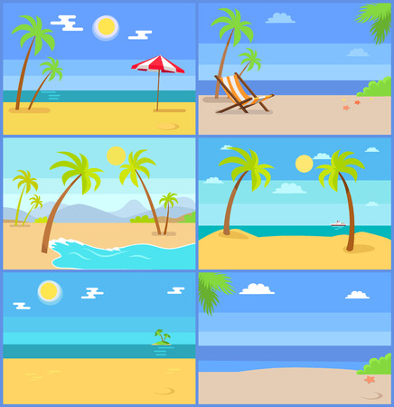 Set Tropical Coastline Views Vector Illustrations Illustration