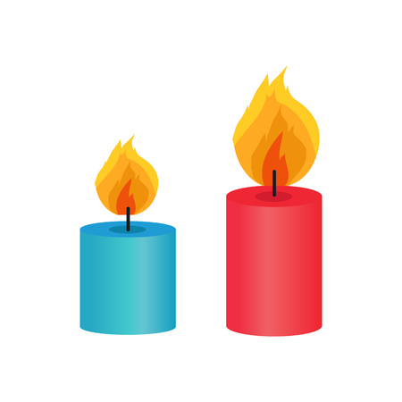 Two Small Decorative Candles, Vector Illustration