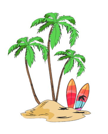 Tropical Island with Palms and Bright Surfboards