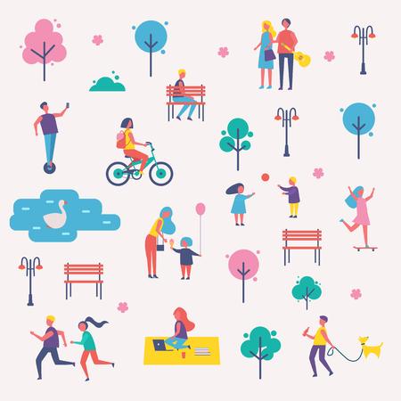 Characters Spend Leisure Time in Spring Park Set Reklamní fotografie - 103229899