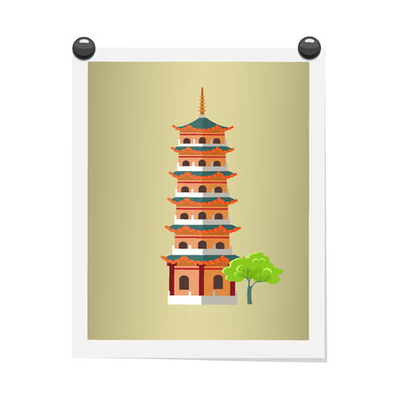 Taiwanese Tall Building on Isolated Image on White