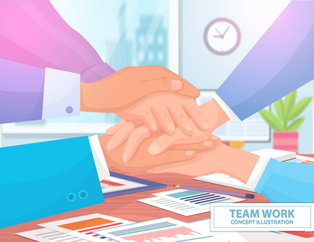 Team Work Concept Colorful Vector Illustration 일러스트
