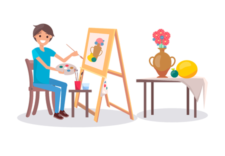 Cheerful Painter at Work, Vector Illustration