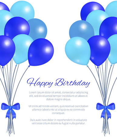 Happy Birthday Greeting Card Balloons Big Bundle Illustration