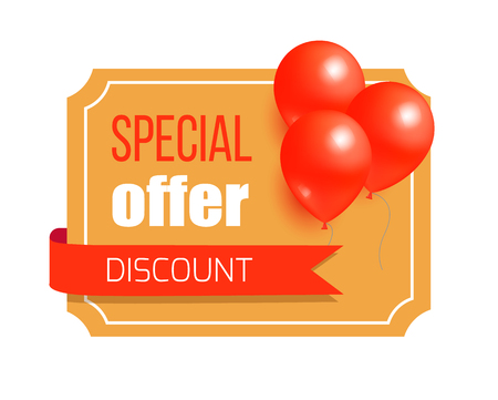 Discount Special Offer Card Design Balloons Label Illustration