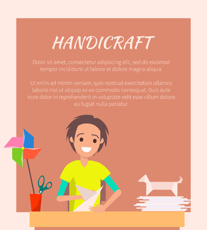 Handicraft Banner, Origami Art Vector Illustration