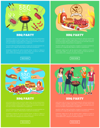 BBQ Party Set of Vector Illustrations, Meat Dishes Illustration