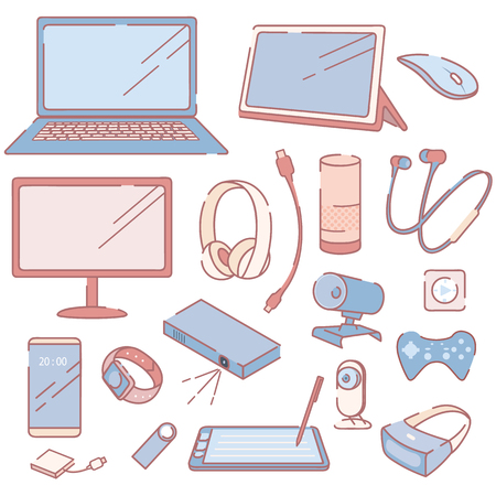 Modern Electronic Devices and Accessories Set