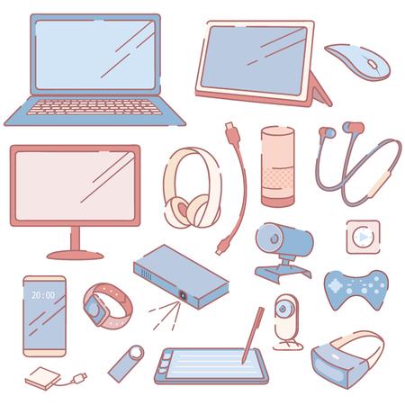 Conjunto de accesorios y dispositivos electrónicos modernos