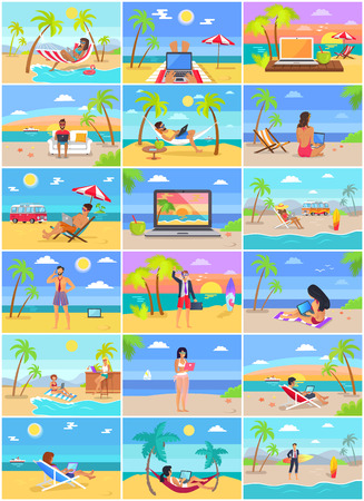Distant work poster freelancers working on laptop, summertime at coastline, advantages of freelance job, palms, sea and ship, men and woman set of cards Ilustrace