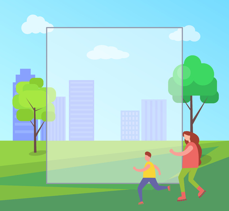 Mom and Child Skating in City Vector Illustration