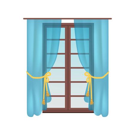 Modern Wooden Window, Colorful Vector Illustration Illusztráció