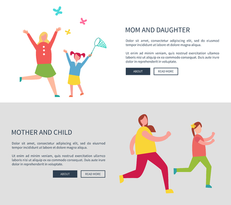 Mother and Daughter Web Set Vector Illustration Illustration