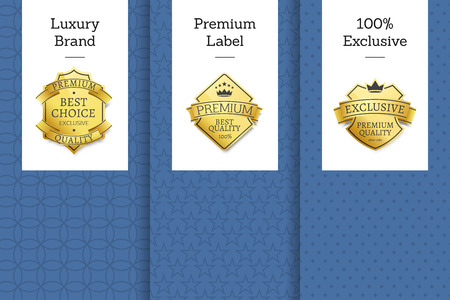 Luxury brand premium label 100 exclusive set of leaflets, best choice for years exclusive premium quality golden labels, awards or rewards from gold Stock Illustratie