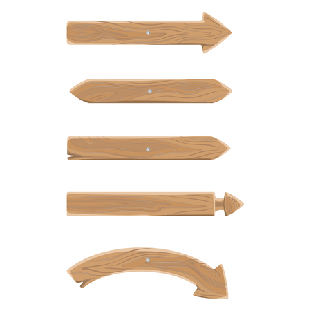 Wooden Pointers in Shape of Arrows Set on Wall Ilustrace