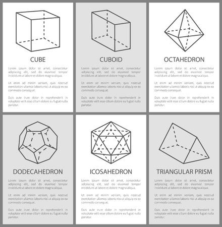 Cube Cuboid Octahedron Dodecahedron Icosahedron Illustration