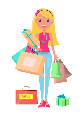 Sale Shopoholic Girl with Bags Vector Illustration