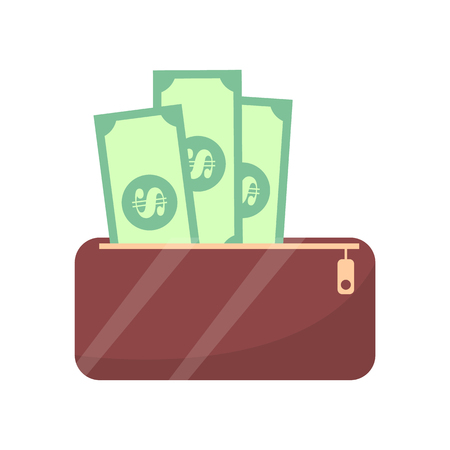 Wallet and Money Cash Objects Vector Illustration