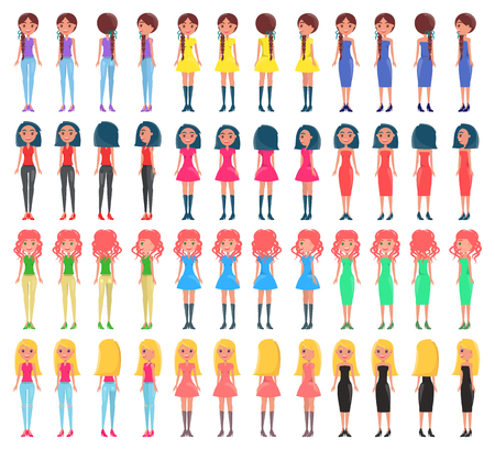 Woman Constructor Collection Vector Illustration