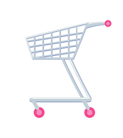 Shopping Cart with Wheels Vector Illustration