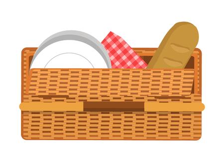 Picnic Basket Pattern, Color Vector Illustration