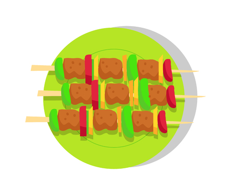 Kebabs Set, Roast Meat, Shashlik Vector Banner